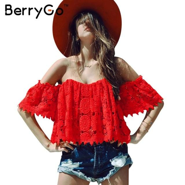 BerryGo Sexy hollow out lace crochet crop top Off shoulder fringe summer beach blouse women strapless blusas tube tops