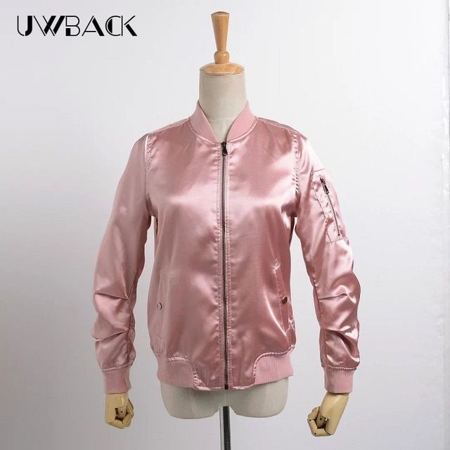 Uwback 2017 New Brand Bomber Jacket Women Pink/Army Green Satin Slim Autumn Jackets Femme Plus Size Outwear Coat Mujer TB1162