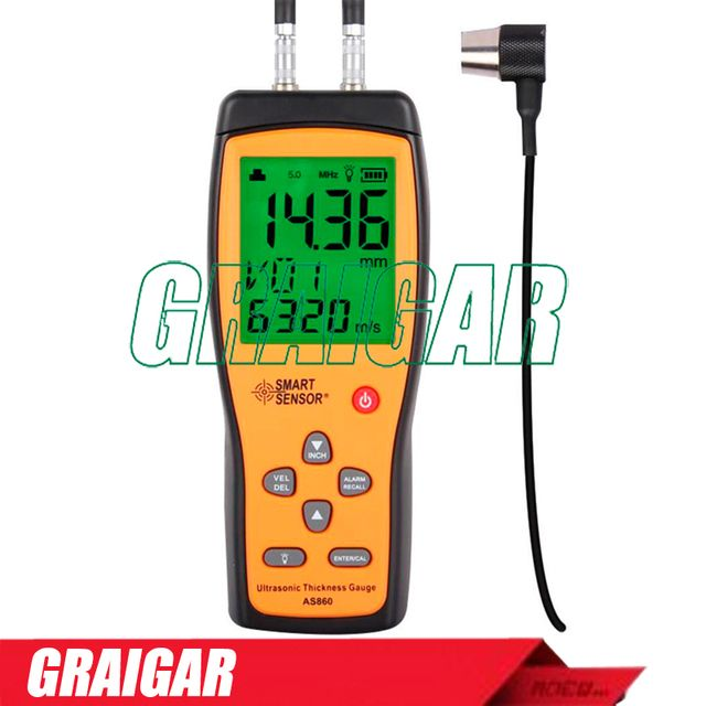 Smart Sensor AS860 Ultrasonic thickness gauge Measuring range 1.2~225mm Aluminium Plate Steel