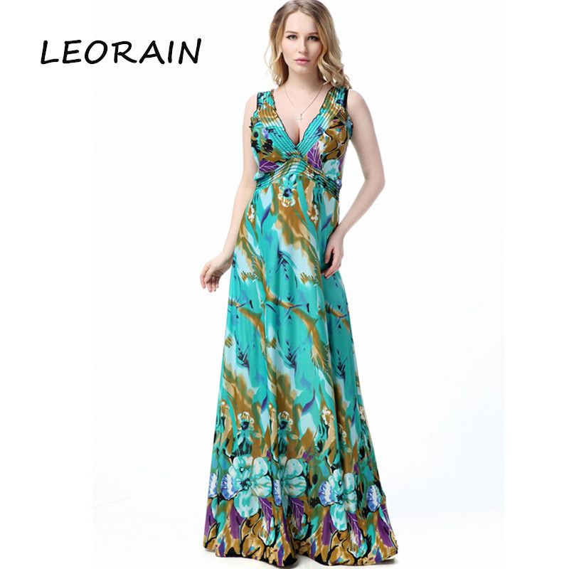2017 New Plus Size Women Fashion Sexy V-neck Beach Ice Silk Sleeveless Maxi Summer Dress LEORAIN Ropa Mujer American Apparel 6XL