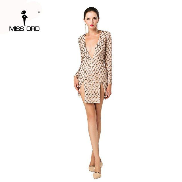 Missord 2018 Sexy Deep-V  long sleeve grid sequin split dress FT4657