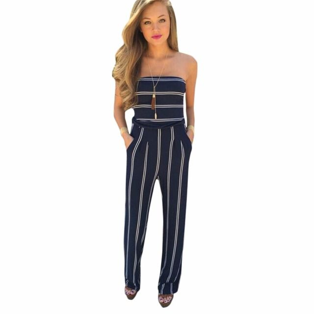 Strapless Bodysuit Sexy Overalls Night Club Rompers Womens Jumpsuit Striped Playsuit Bodycon Jumpsuit Macacao Woman 2016