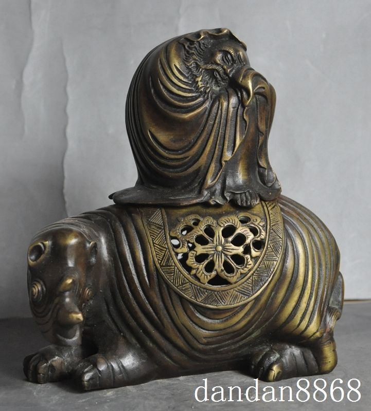 Christmas old tibet bronze Damo Bodhidharma Dharma Buddha ride Rhino incense burner Censer Halloween