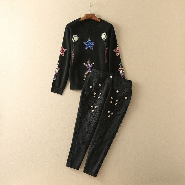 2016 Autumn Brand Runway 2 Pieces Sets Women Black Stars Sequins Women's Sweater And Woolen Calf-Length Pants  82632