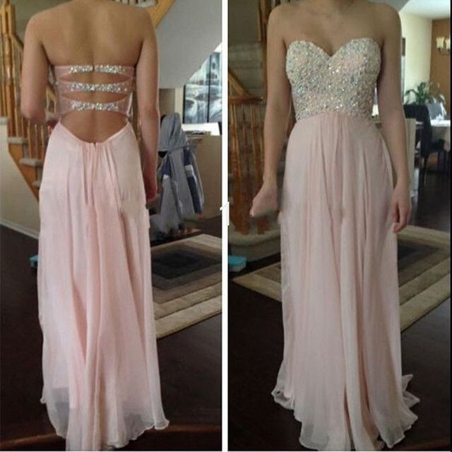 Prom Dress Beauty Strapless Sleeveless Pink Chiffon A-Line Evening Dresses 2017 Long Floor Length Open Back Beading Prom Dress