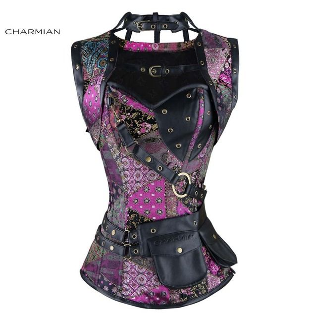 Charmian Women's Plus Size Retro Gothic Steampunk Corset Spiral Steel Boned Green Purple Corset Brocade Bustiers with Pouch Belt