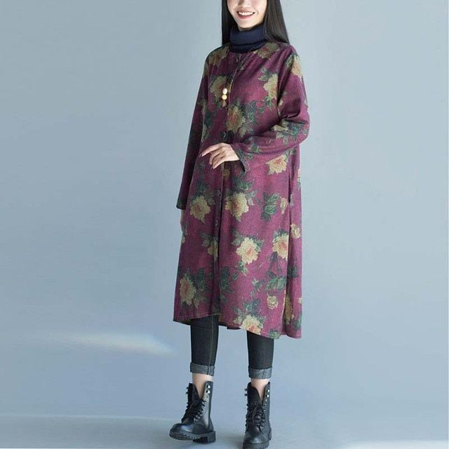 Chinese wind retro autumn and winter female collarless long section thick woolen coat printing loose windbreaker jacket
