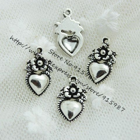 Sweet Bell 80pcs/lot 11*18mm Antique silver Vintage Metal Alloy Hearts Made with Love flower Charm Jewelry Heart Charms D0529
