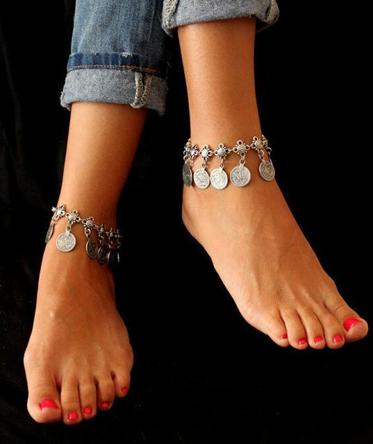 Bohemian Belly Dance Boho Turkish Silver Antalya Coin  Anklet Bracelet Gypsy Foot Sandal Beach Ankle Chain Lot 12 Pcs