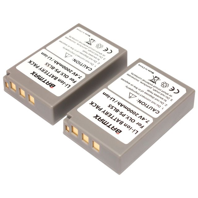 Batmax 2Pc PS-BLS5 PS BLS5 PSBLS5 Rechargeable Battery for Olympus OM-D E-M10 PEN E-PL2 E-PL5 E-PL6 E-PL7 E-PM2 Stylus 1 EM10 II