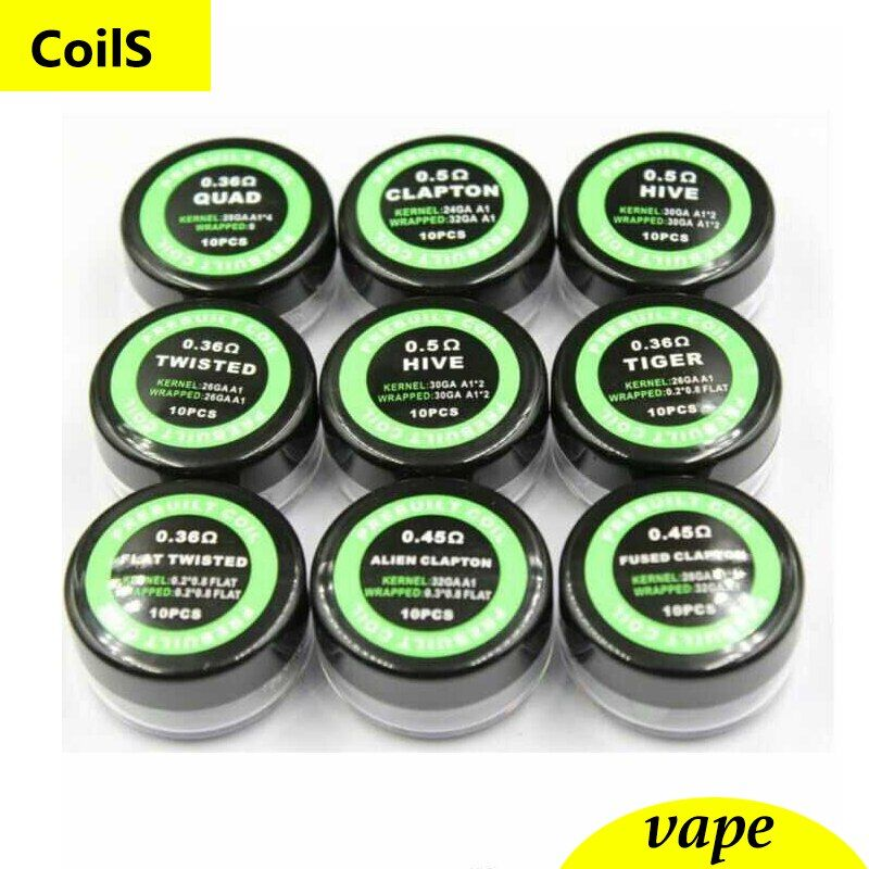 Clapton/Hive/Tiger/Twisted/Mix twisted/Fused clapton coil heating prebuilt Wire resistance 10 pic/box