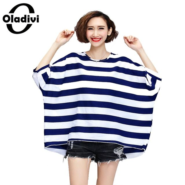 8XL 7XL 6XL 5XL Plus Size Loose Shirts Striped Casual Blouses for Women 2017 Summer New Fashion Girl Oversized Tops Femme Tunics