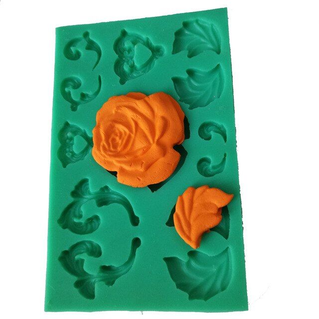 PRZY  silicone  flowers plant curly leaves cake decoration chocolate fandont mold