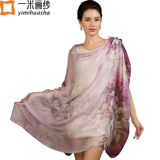 2017 hot pure silk floral scarf for women long design chiffon hijab shawl wrap foulard femme women's summer sunscreen cape
