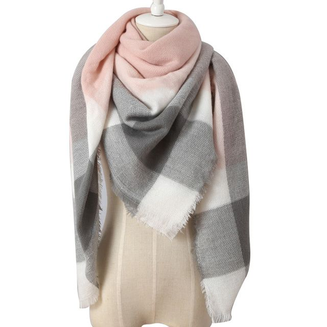 DropShipping 2018 Winter Triangle Scarf For Women Brand Designer Shawl Cashmere Plaid Scarves Blanket  Bufanda Wholesale
