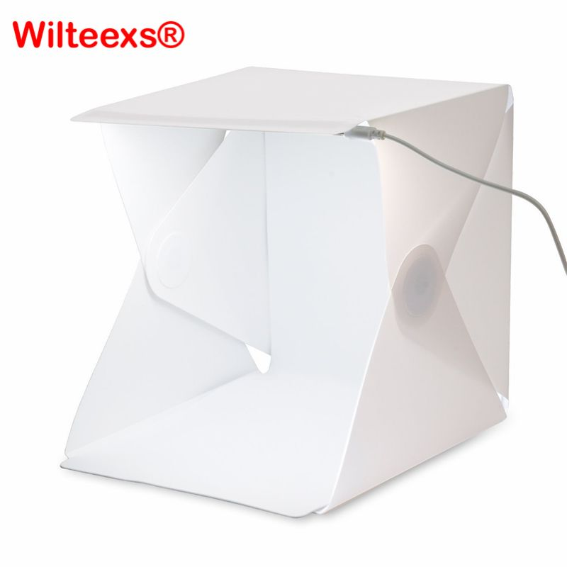 WILTEEXS Mini Photo Studio Box Portable Photography Backdrop Built-in Light Photo Box Little Items Photography Backdrop lightbox