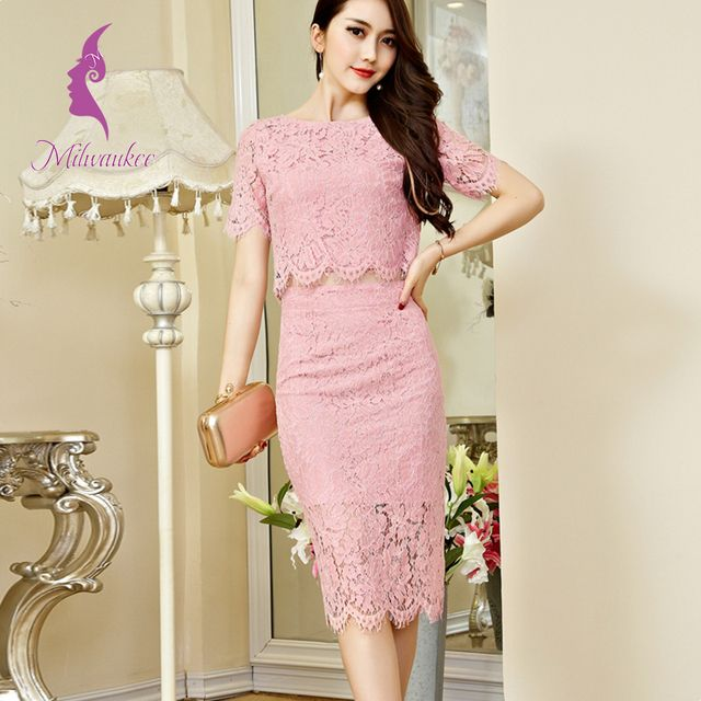 Milwaukee Lace Pure Color Short Sleeve Top And High Waist With Zipper Knee-Length Skirt 2 Piece Elegant Office  Women Skirt Sets