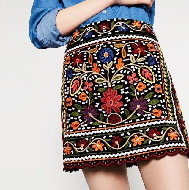 VogaIn 2016 New Fashion Woman Boho style Vintage Colorful Flowers Embroidered MINI Skirt Ladies Ethnic Short Skirts