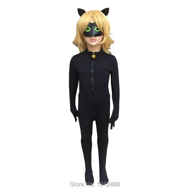Ladybug suit Halloween Christmas Kids Clothing Sets Miraculous Cat Noir Carnival Cosplay Costume For Boy Jumpsuit+Mask+Wigs