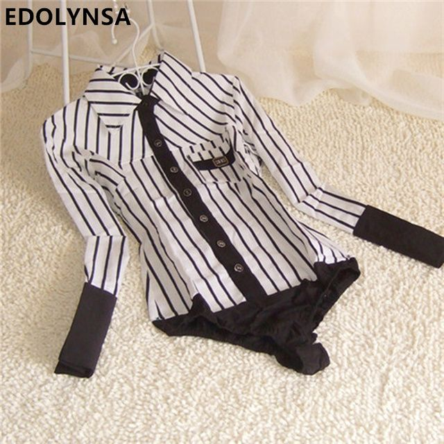 New Brand Women Striped OL Long Sleeve Cotton Casual Body Blouse Shirt Women Tops One Piece Body Shirt Blusas Plus Size S-XL