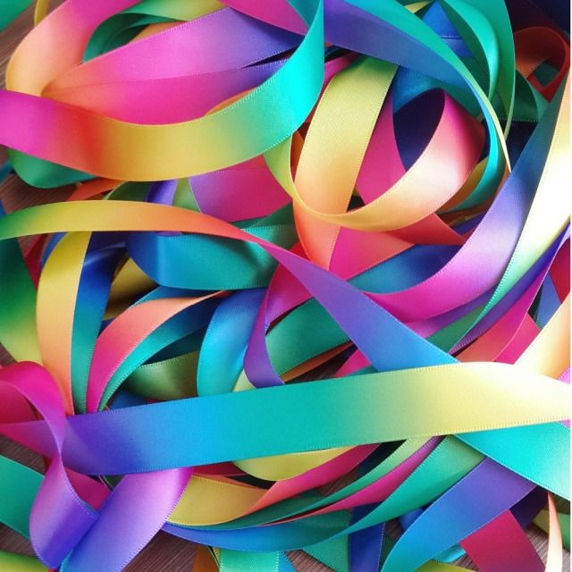 Free shipping by ePacket 19mm double faced colorful rainbow satin ribbon garment accessories 20 yards