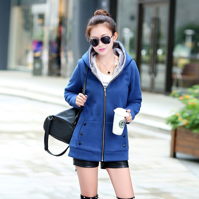 Female Hooded Sweatshirt 2016 Winter Fashion Casual Solid Zippered Hoodies Thick Warm Lady Fleece Jacket Wool Liner Hoody Coat