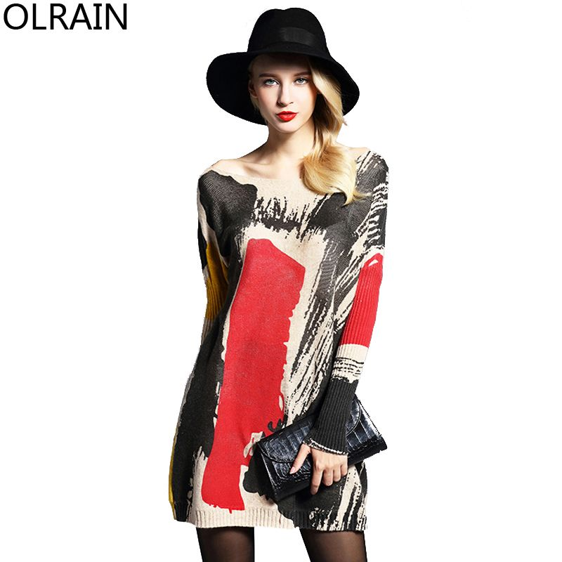 Olrain 2016 Autumn Women Plus Size Floral Print Long Knitted Sweaters Pullovers Loose Long Sleeve Sweater Dress