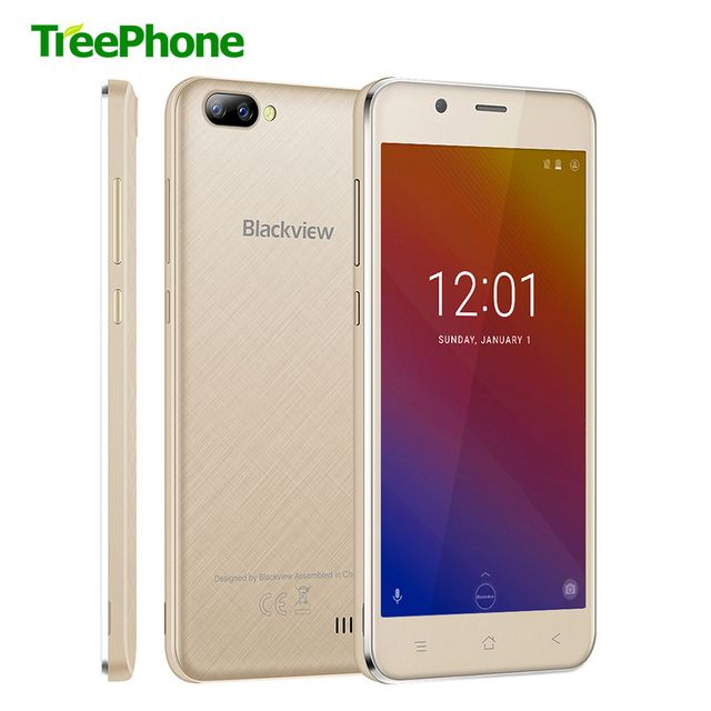 New BLACKVIEW A7 smartphone Dual Rear Camera MT6580 Quad core Android 7.0 mobile phone 5.0inch HD IPS 1GB+8GB GPS 3G cell phone