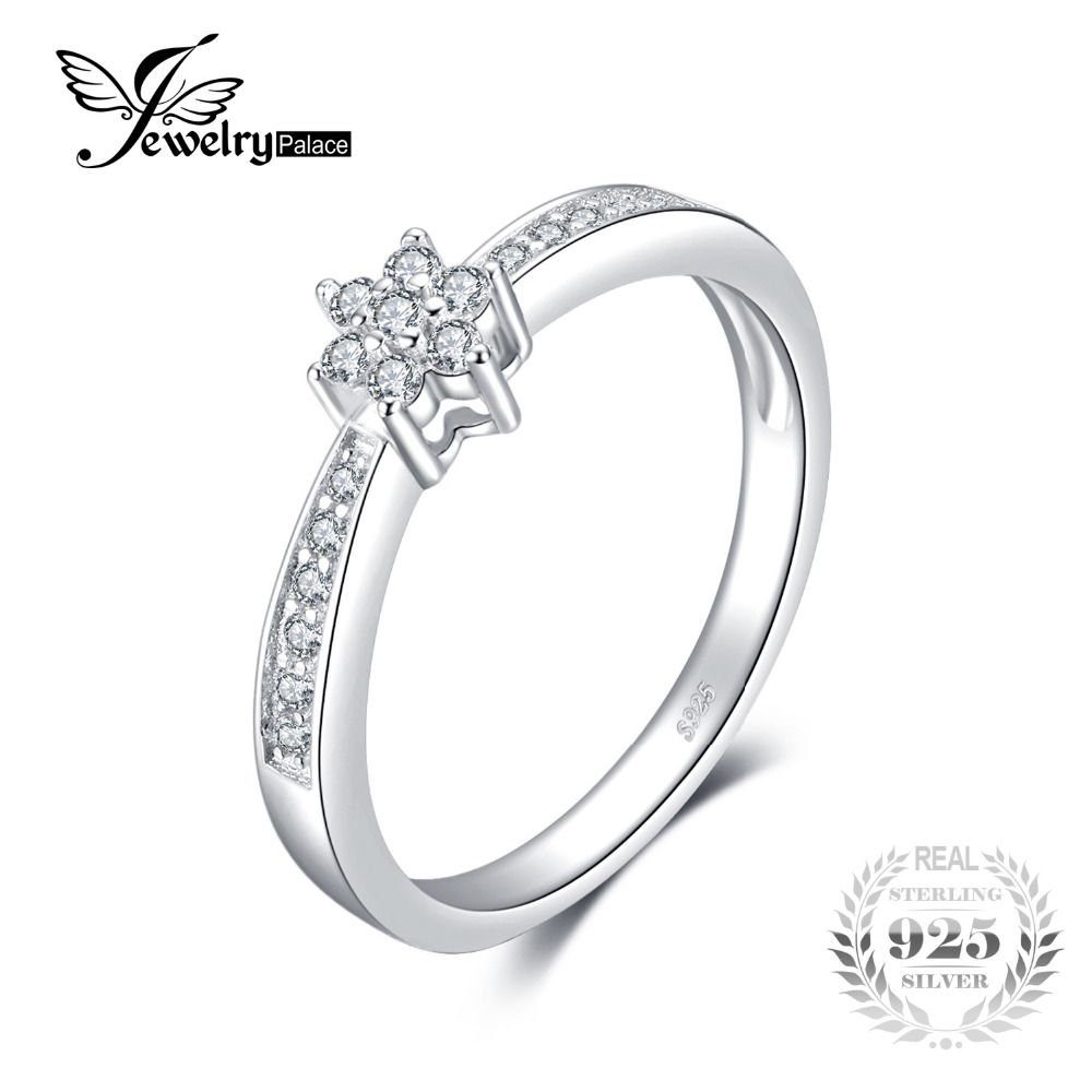 JewelryPalace Flower Anniversary Wedding Band Ring 100% Real 925 Sterling Silver Fine Jewelry 2018 Fashion Rings For Women Gift