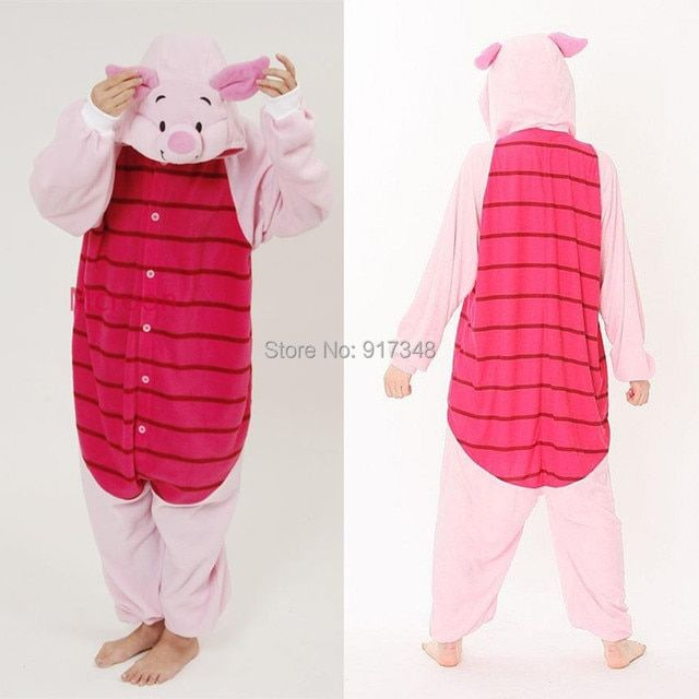 Cartoon Animal Cosplay Kigurumi Piglet Pig Onesies Pajamas  Jumpsuit  Hoodies Adults Cos Costume for Halloween and Carnival