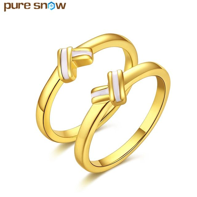New Arrive Gold Color Round Engagement Rings Bridal Sets Heart Shape Finger Rings Wedding Party Anniversary Gift Wholesale