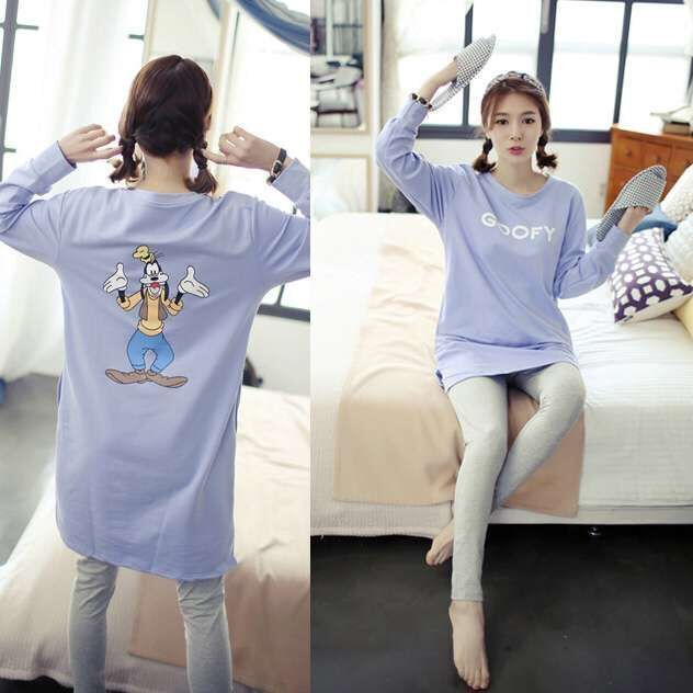 Free Shipping Spring & Autumn New Long Sleeve Pajamas Lovely Heart Pajamas Sets M -XXL Cotton Sleepwear Nightwear Home Clothes
