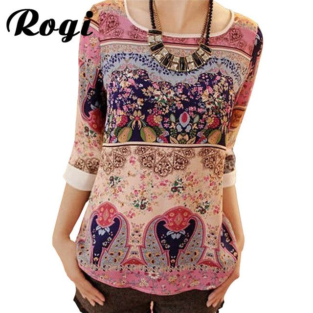 Rogi Summer Women Blouses Vintage Tribal Print Chiffon Blouse Three Quarter Sleeve O-neck Boho Lace Shirts Tops Blusas Femininas
