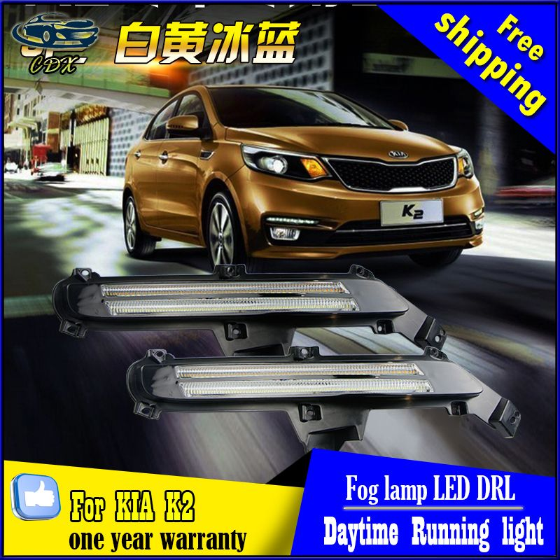 New Guiding LED DRL Daytime Running Light Fog Lamp For KIA K2 RIO 2015 Modification High Quality Car Styling Super Bright