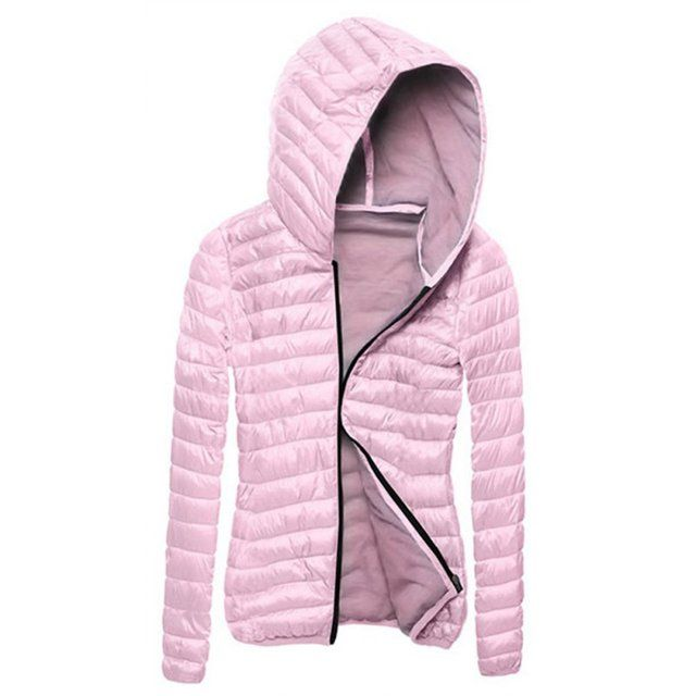Bubble Padded Jacket Hooded Collar Zip Up Thick Coat Winter Warm Outwear jacket women's winter