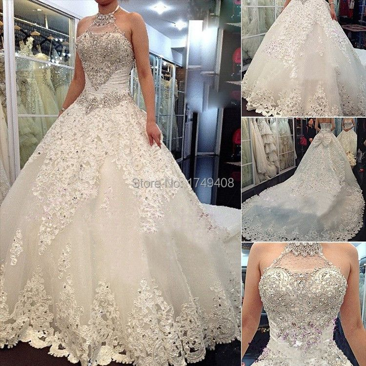 Dreamy Design 2015 Ball Gown Princess Luxury Crystal Beading Wedding Dress Halter Lace up Vestido De Noiva Bridal Gown