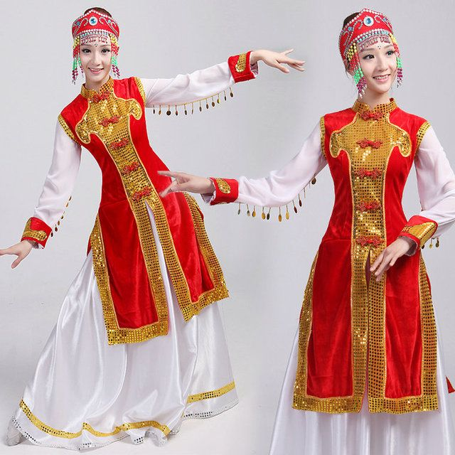 Dance costume female long design expansion skirt robed mongolia dress Chinese Folk Dance