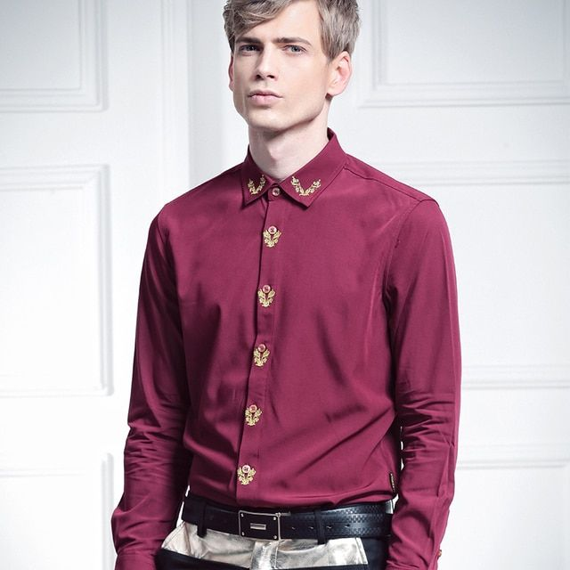 Free Shipping New Man's male party 2016 autumn fashion casual long-sleeve slim Embroidery wine red 512012 shirt 5XL Bamboo fiber