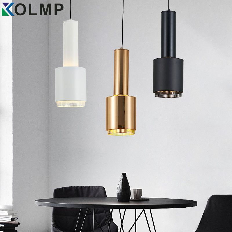 White/Black/Gold metal modern hanging lamp simple chandelier single head light kitchen hanging lighting dinning room home lamp