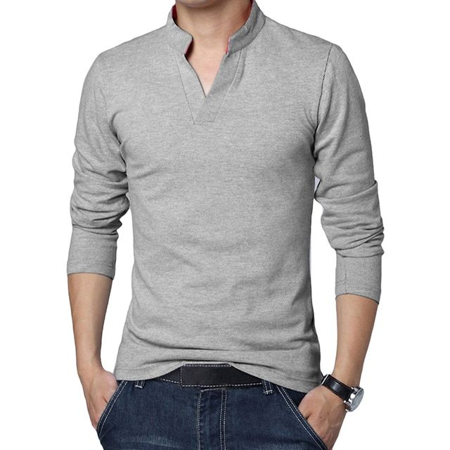 High Quality Men Tshirt Pullover V Neck Slim Long Sleeve Shirts Tracksuit Tops Basic Type Shirt Blusas Tee Male Clothing F2