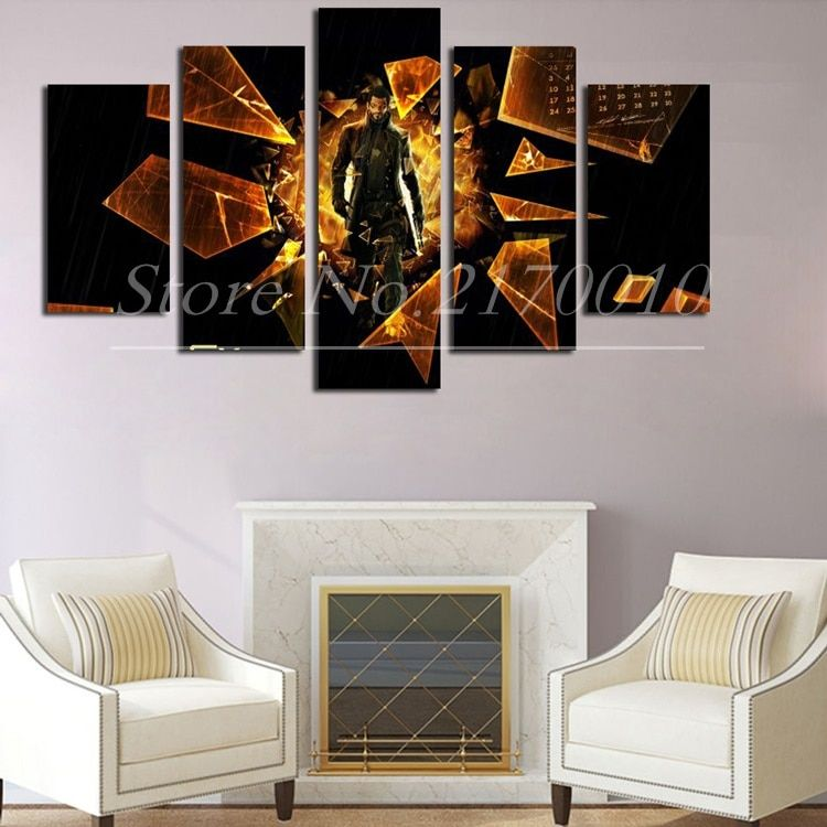 Unframed Large HD Deus Ex Home Wall Artworks Games Painting Canvas Livingroom Background Deco Posters 5Panel Mural Comics Prints