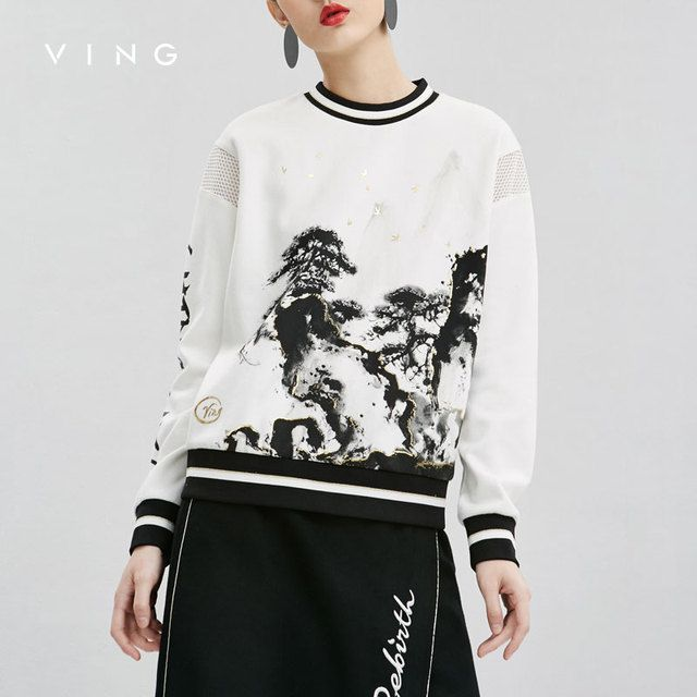 VING 2017 Winter New Coming Print Hollow Out Women Sweatershirts O-Neck Slim All-Match long Sleeve Loose Sweatershirts