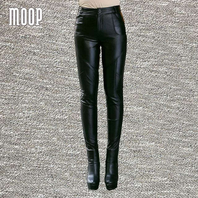 Black genuine leather pants 100% lambskin pencil pants trousers bottom harem pants pantalon femme pantalones mujer LT799