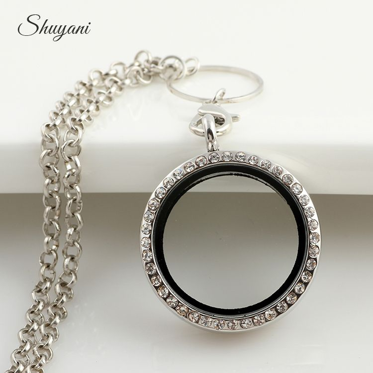 New Arrival 30mm Silver Rhinestone Floating locket Round Magnetic Glass Living memory locket with free chain Wholesale