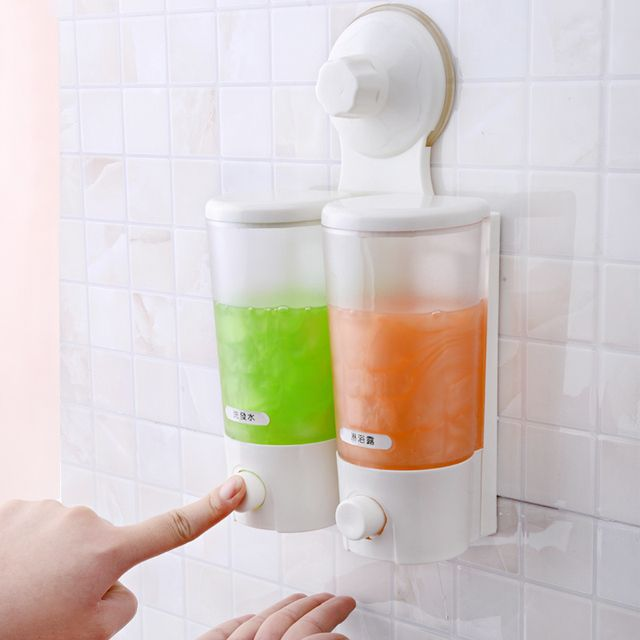 Double Soap Dispenser For Kitchen Bathroom Shampoo Wall-Mounted Manually Bathroom Kitchen Soap Dispenser SQ-1901