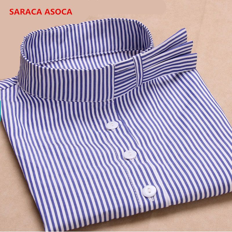 New Style Fashion Blue Stripe Shirt Detachable Collars Girls Cotton Brife Fake Collar Women Wholesale