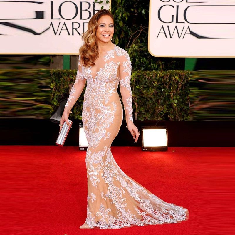 2014 Sexy Jennifer Lopez Evening Dresses With long Sleeve Mermaid Lace Appliqued Tulle Sheer Back Celebrity Red Carpet Dress