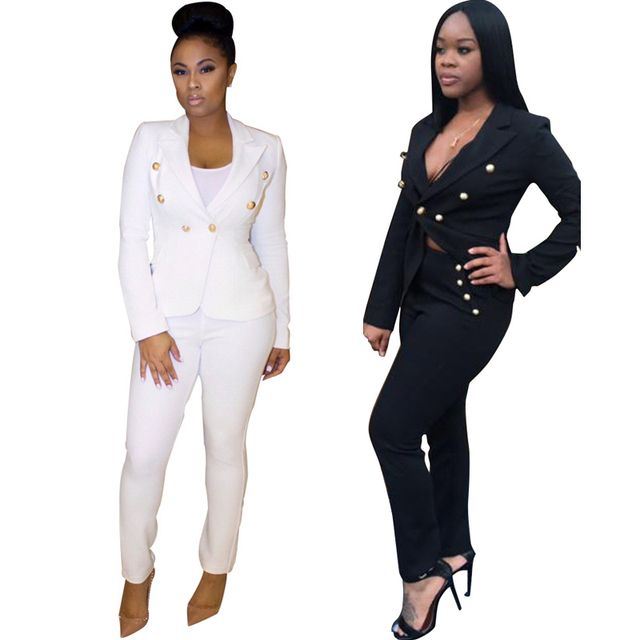 Womens Sweat-Suits 2017Autumn 2 Piece Set Woman Office Business Suits Track-suit Single Button White Two Piece Set Top And Pants