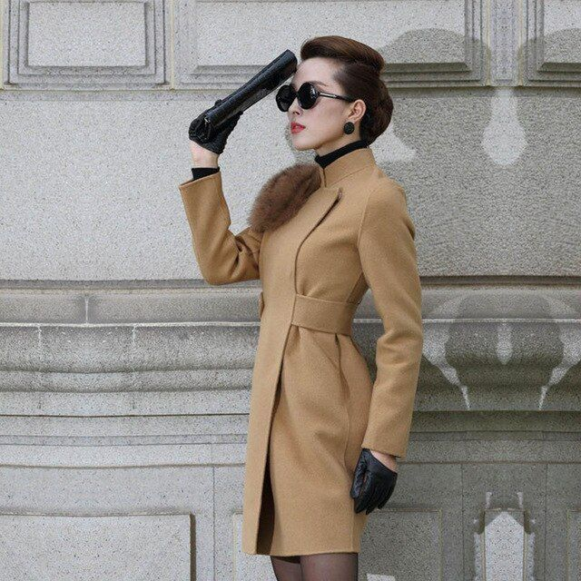 High End Premium Hand Stitched Double Face 50% Woolen Blend Coat Winter Warm Genuine Natural Fox Fur Slim Long Wool Trench Coats