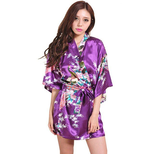 Purple Kimono Robes For Women Satin Bathrobe Long Silk Robes For Bridesmaids Longue Female Women Dressing Gown Bridesmaid Robe